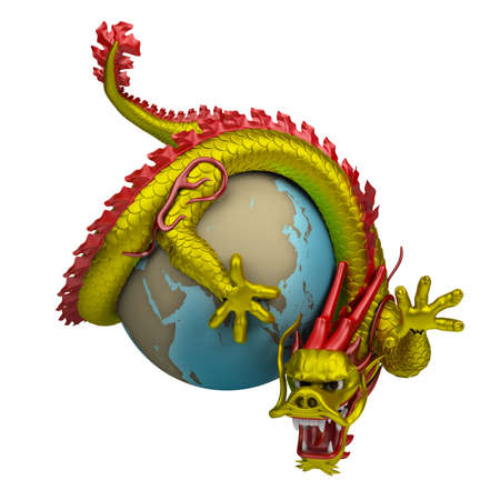 twists: chinese dragon twists around the globe. 3d image. isolated white background. Stock Photo
