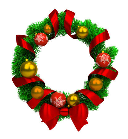 wreath design: christmas wreath with pine branches, balls and silk ribbon. 3d image. isolated white background.