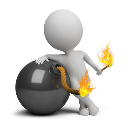 the 3d: 3d bomba peque�a persona encendiendo la mecha. Imagen 3D. Aislado fondo blanco.