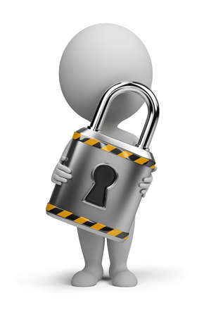 padlock: 3d small person with a lock in the hands of. 3d image. Isolated white background. Stock Photo