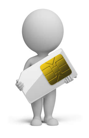 3d small person standing with a sim card in the hands. 3d image. Isolated white background.
