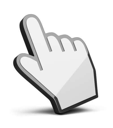 curseur souris: curseur main. Image 3D. Isol� sur fond blanc.