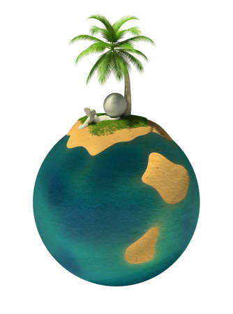 palmtree: 3d small person resting on a deserted island on the planet Earth. 3d image. Isolated white background.