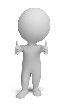 3d small person - double thumbs up. 3d image. Isolated white background. photo