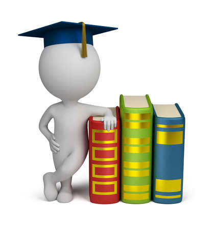 a person: 3d small person stands alongside a book in the header of the graduate. 3d image. Isolated white background.