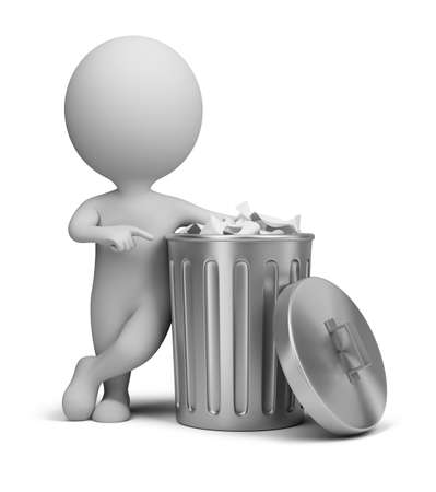 rubbish bin: 3d small person standing next to a trash can. 3d image. Isolated white background. Stock Photo