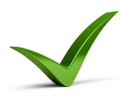 Marca de verificación verde. Imagen 3D. Aislado fondo blanco. Foto de archivo