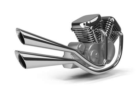 chromed motorcycle engine. 3d image. Isolated white background. photo