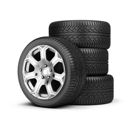 car tire: Stack of wheels. 3d image. Isolated white background. Stock Photo