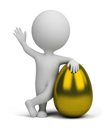 3d small person standing next to a golden egg. 3d image. Isolated white background. Stock Photo