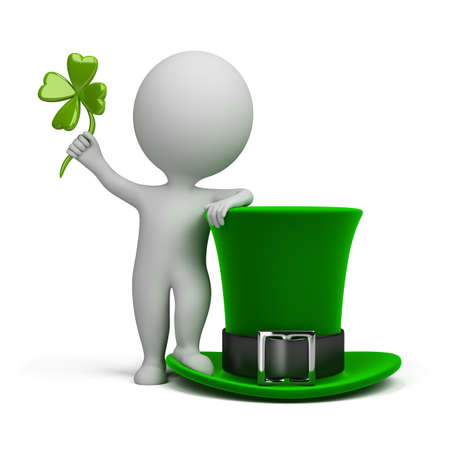 lucky man: 3d small person standing next to the hat of Saint Patrick. 3d image. Isolated white background.
