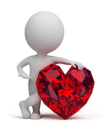 ruby stone: 3d small person next to ruby heart. 3d image. Isolated white background.