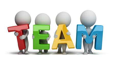 small business team: 3d small people holding hands in the word team. 3d image. Isolated white background.