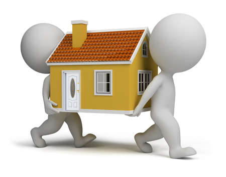 small house: 3d small people carrying home. 3d image. Isolated white background.