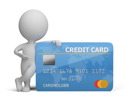 credit card purchase: 3d small person standing next to a credit card. 3d image. Isolated white background.
