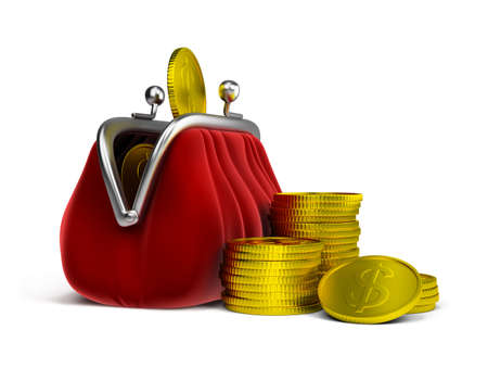 Red velvet purse and gold coins. 3d image. Isolated white background. photo
