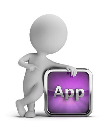 3d small person standing next to an application icon. 3d image. Isolated white background.
