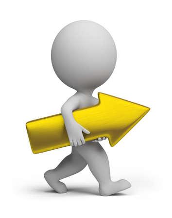 Piccola persona 3d che trasporta una freccia dorata. Immagine 3d Sfondo bianco isolato