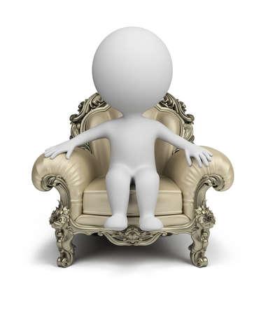 3d klein persoon zit in een luxe fauteuil. 3d beeld. Geïsoleerde witte achtergrond.