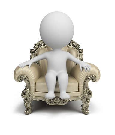 persona: Persona pequeña 3d sentado en un sillón de lujo. Imagen en 3d. Aislado fondo blanco.