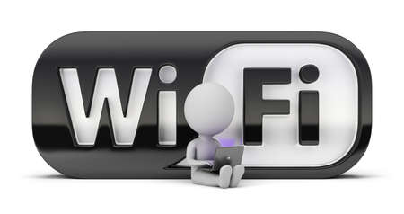 3d small person sitting with a laptop next to the icon wifi. 3d image. Isolated white background.