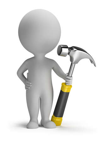 small tools: 3d small person with hammer. 3d image. Isolated white background.