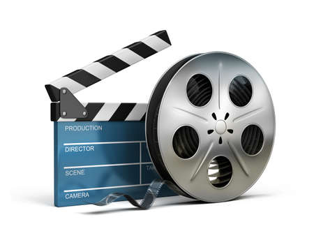 film industry: Cinema clapper and film tape. 3d image. Isolated white background.