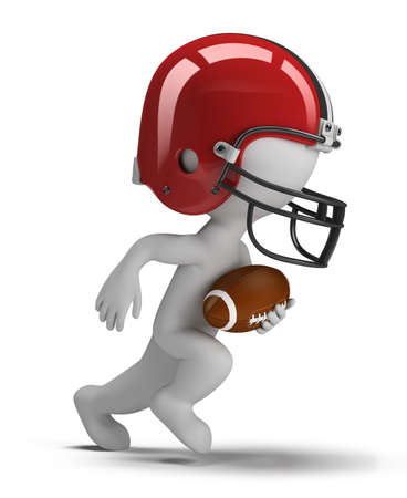 team effort: 3d small person - american football player running with ball. 3d image. Isolated white background.