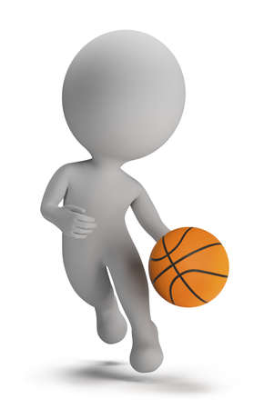 basketball player: 3d small person - basketball player with ball. 3d image. Isolated white background.