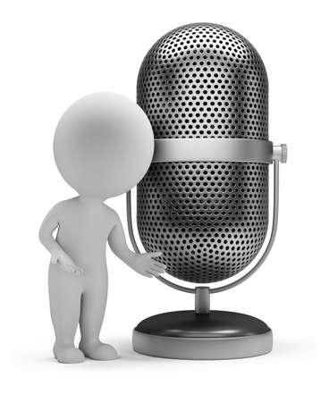 mics: Persona peque�a 3d de pie junto a un micr�fono de la vendimia. Imagen en 3d. Aislado fondo blanco. Foto de archivo