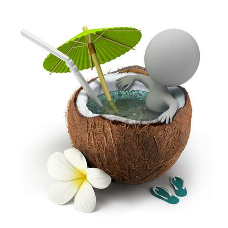 우산 아래 코코넛 욕조에 앉아 3d 작은 사람. 3D 이미지. 격리 된 흰색 배경.