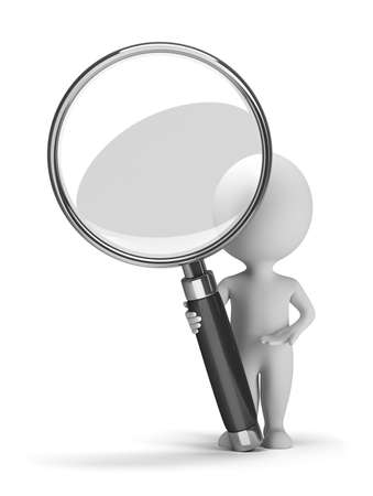 recommendation: 3d small people with a magnifying glass. 3d image. Isolated white background.