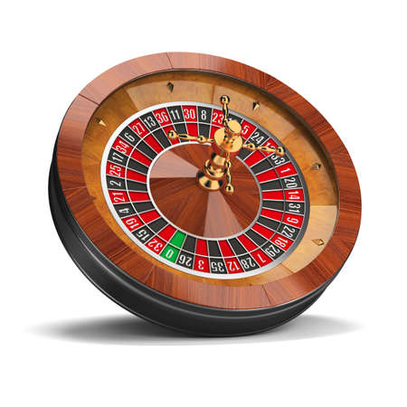 Roulette-Rad. 3D-Bild. Isoliert weißen Hintergrund.