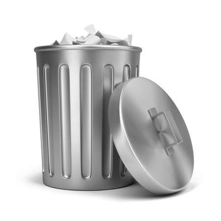 cesto basura: la basura de latas de acero. Imagen en 3d. Aislado fondo blanco. Foto de archivo
