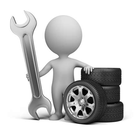 3d small person stands next to the wheels and holding a wrench. 3d image. Isolated white background. photo
