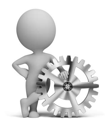 settings: 3d small person leaning on a gear. 3d image. Isolated white background.