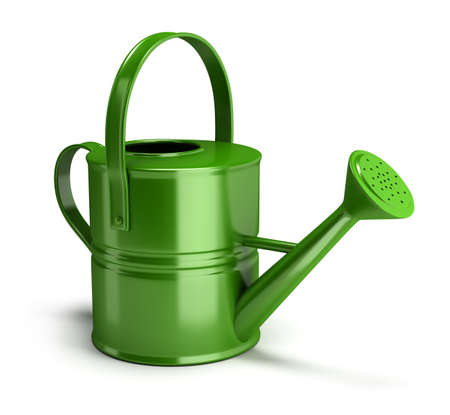 watering garden: shiny green watering can. 3d image. Isolated white background.