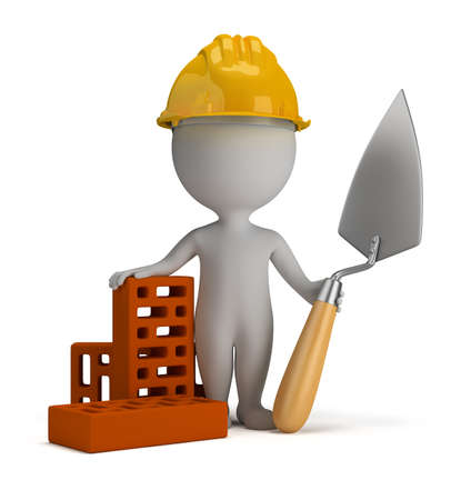 3d small person - builder in the helmet with a shovel and bricks  3d image  Isolated white background