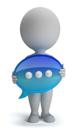 3d small person with his hands in the chat icon  3d image  Isolated white background  photo