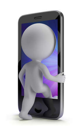 3d small person login to your phone 3d image Isolated white background