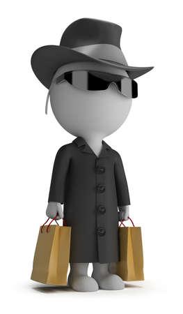 agente: 3d piccola persona - mystery shopper in un cappotto nero, occhiali da sole, cappello, e con l'immagine pacchetti 3d sfondo bianco isolato