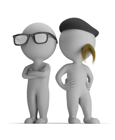 3d small person - two professionals standing back to back 3d image Isolated white background