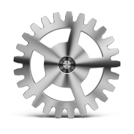 machinery: polished stainless steel gear  3d image  Isolated white background  Stock Photo