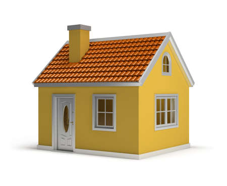 yellow house: yellow house  3d image  Isolated white background  Stock Photo