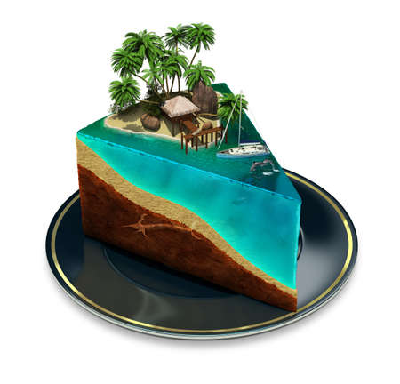 oasis at sunrise: Piece of cake on a plate with a tropical island top  3d image  Isolated white background