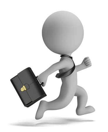 maletas de viaje: Persona peque�a 3d - hombre de negocios corriendo con un malet�n en la mano su imagen 3d fondo blanco aislado