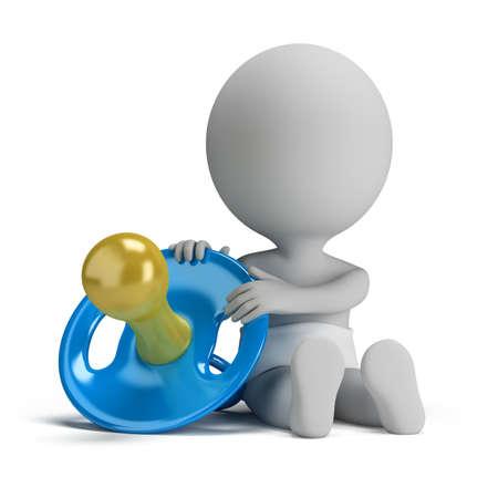 pacifier: Persona pequeña 3d - niño sentado al lado de una gran imagen del chupete 3d fondo blanco aislado