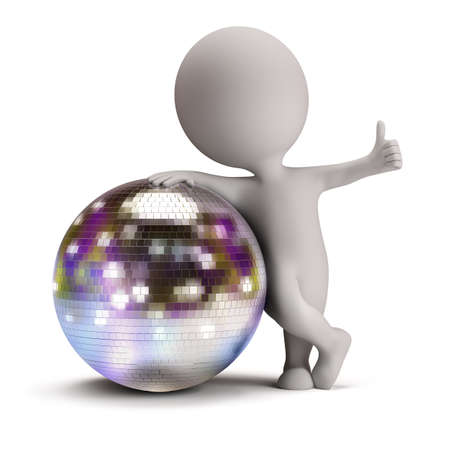 clubbing: 3d small person standing next to a disco ball and showing a positive gesture  3d image  Isolated white background  Stock Photo