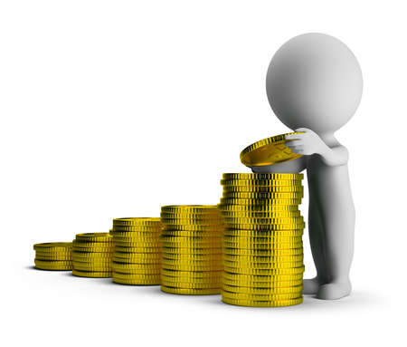 3d small person puts gold coins on each other  3d image  Isolated white background Stock Photo - 13451987