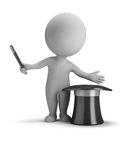 mago: Ilusionista 3d pequeña persona hacer trucos con sombrero mágico de la imagen 3d fondo blanco aislado